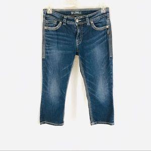 Silver Suki Surplus Capri Jeans Flap Pockets 30